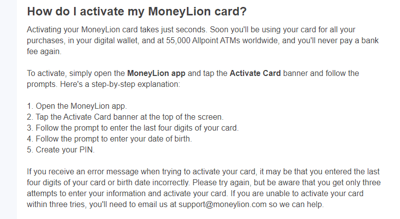 Moneylion card activation