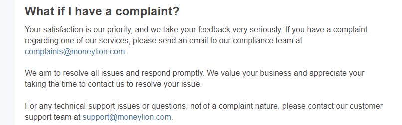 MoneyLion complaint