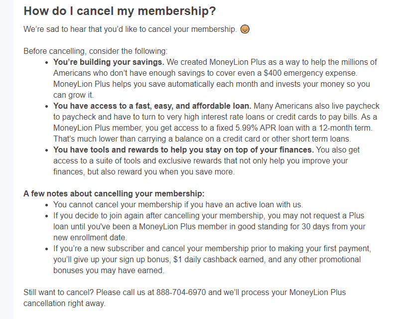 MoneyLion membership cancellation