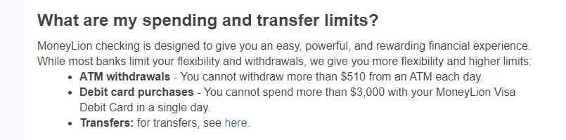 MoneyLion transfer limits