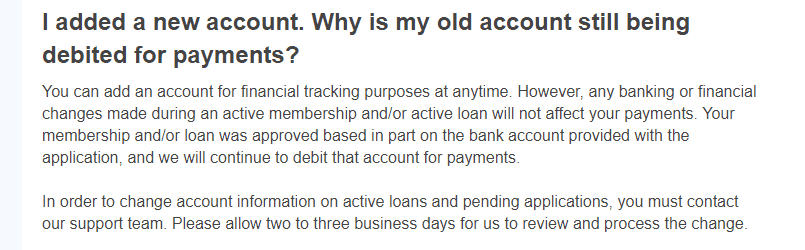 why MoneyLions takes funds from old account