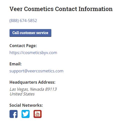 veer cosmetics phone number