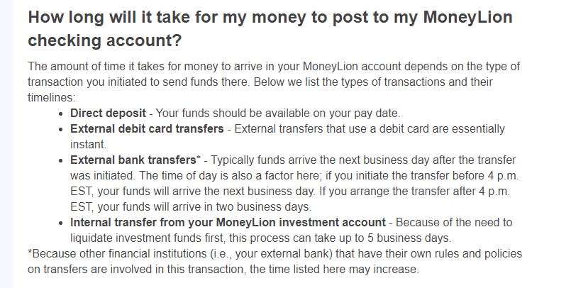 When do i receive money to Moneylion account