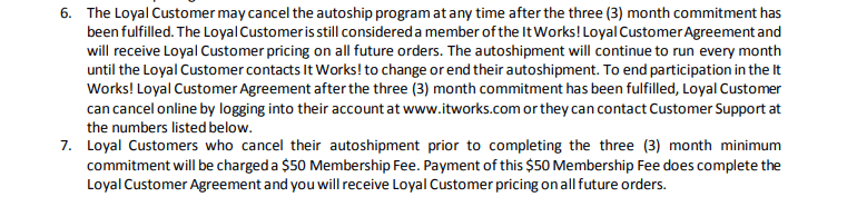It Works Loyal Customer Agreement
