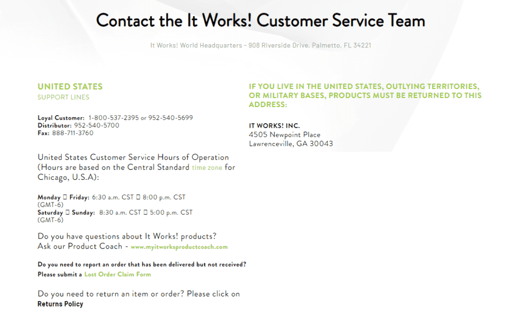 It Works contact info