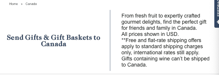 How to send Harry & David gift basket to Canada