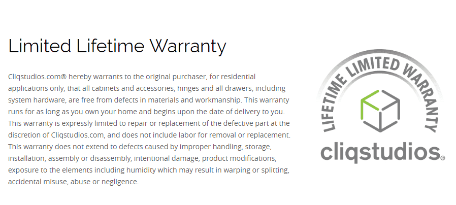 CliqStudios limited lifetime warranty