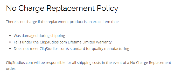 CliqStudios replacement policy