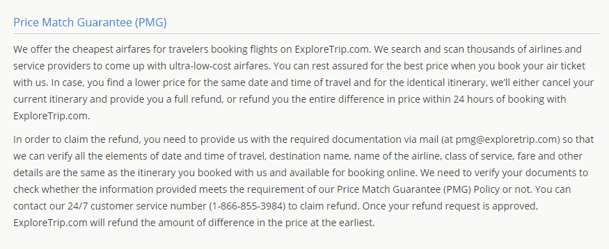 Exploretrip price match guarantee