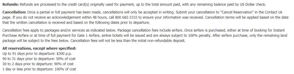 Gate1Travel refund policy