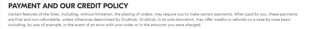 GrubHub refund policy