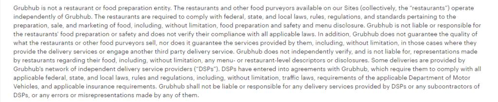 Grubhub terms of use