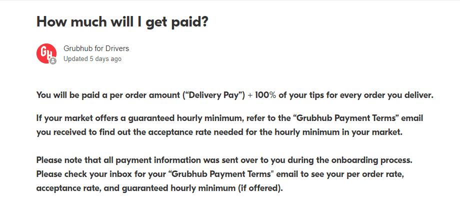 How much do Grubhub drivers earn