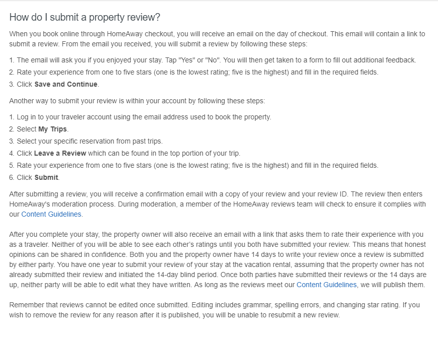 How to leave a review about VRBO and HomeAway