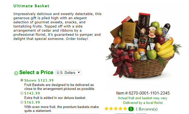 JustFlowers gift basket reviews