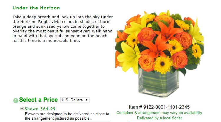JustFlowers flower arrangement reviews