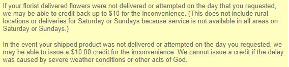 JustFlowers refund policy