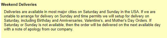 JustFlowers weekend delivery policy