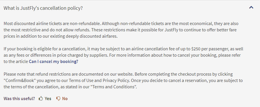JustFly cancelation policy