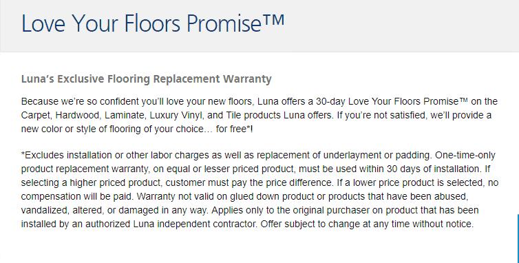 Luna Flooring Love Your Floors Promise