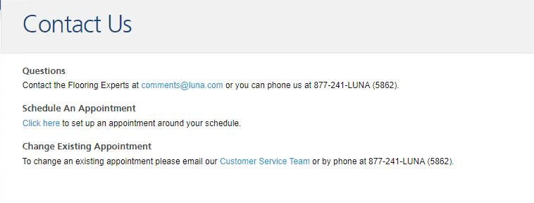 Luna Flooring contact information