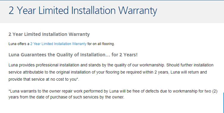 Luna Flooring warranty