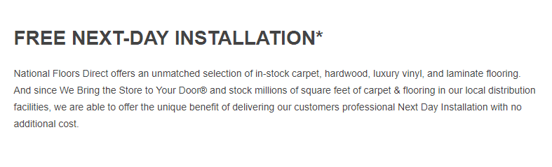 National Floors Direct free next-day installation