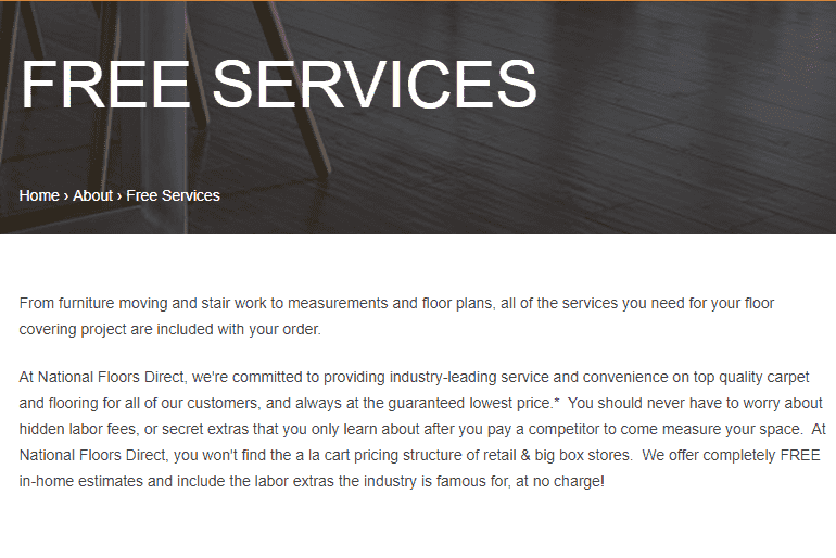 National Floors Direct free services