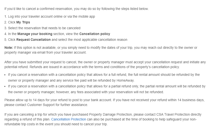 VRBO cancelation policy
