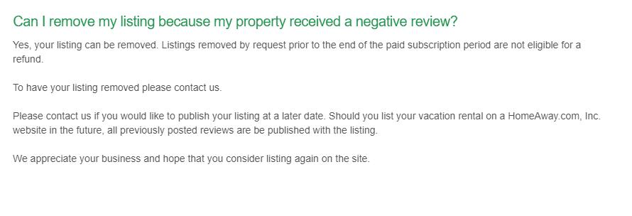 VRBO listing removal