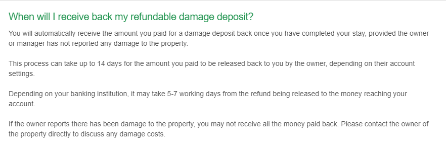 VRBO refund policy