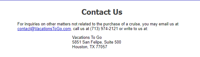 Vacations To Go contact info
