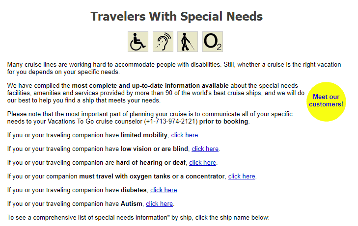 Vacations To Go special needs cruises