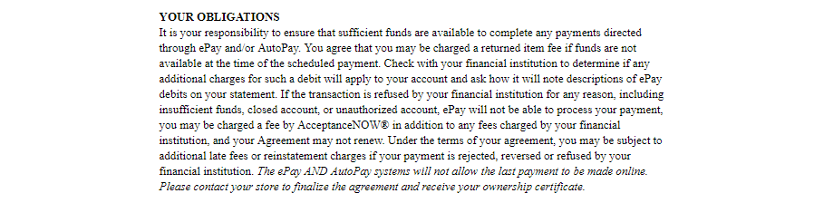 Acceptance Now payment terms