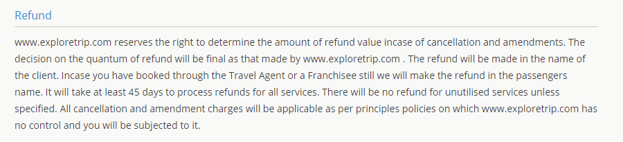 Exploretrip refund policy