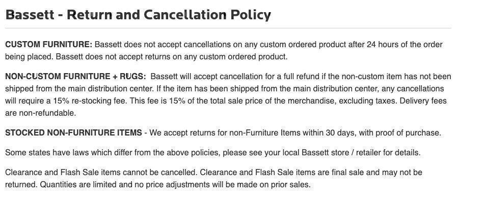 Bassett Furniture cancelation policy