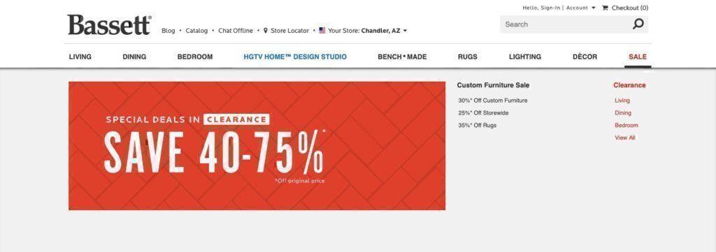 Bassett Furniture sales