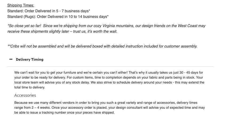 Bassett Furniture shipping policy