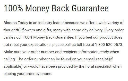Blooms Today guarantee