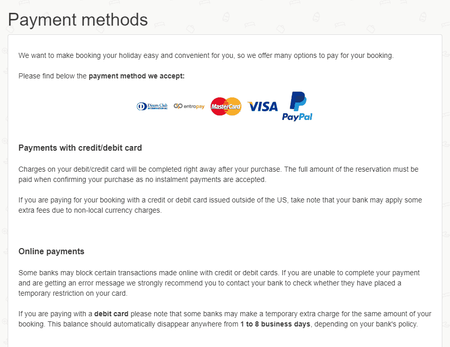 Edreams payment policy