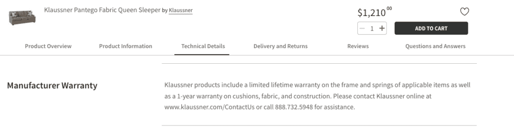 Hayneedle warranty