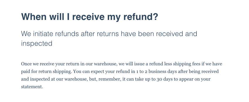 Efaucets refund policy
