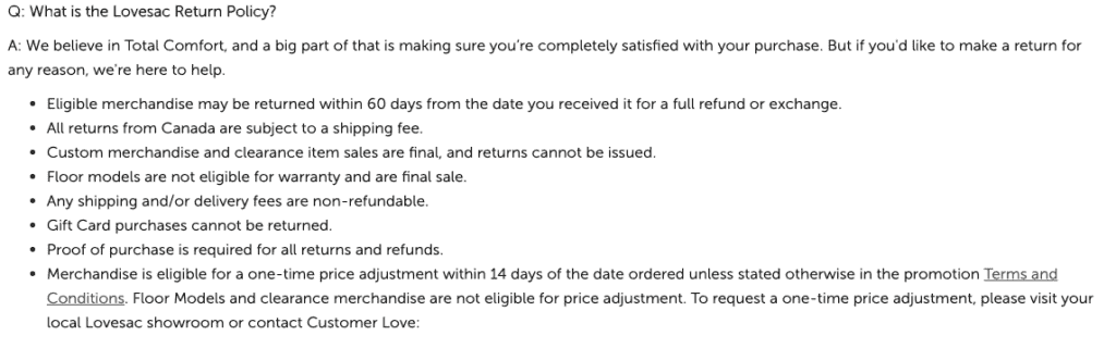 Lovesac return policy