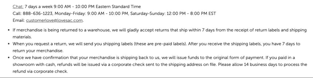 How do I return my Lovesac merchandise