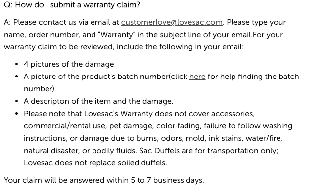 How can I submit a lovesac warranty claim