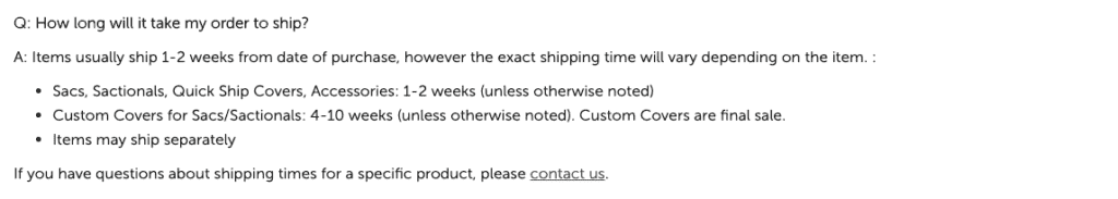Lovesac delivery policy