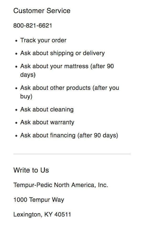 TempurPedic customer service