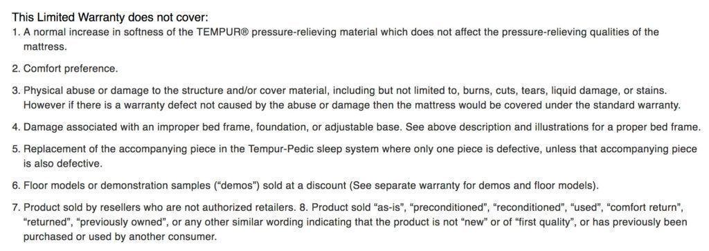 TempurPedic limited warranty