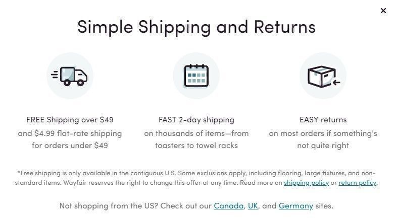 Wayfair shipping policy