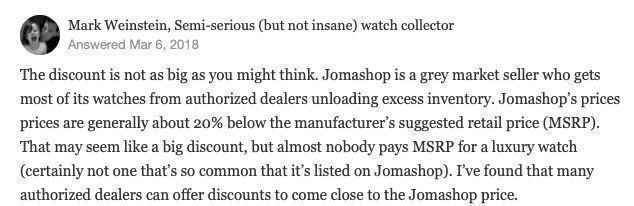 Why Jomashop is so cheap